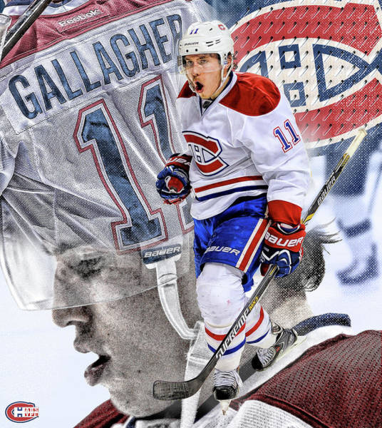 Montreal Digital Art - Brendan Gallagher Poster by Nicholas Legault