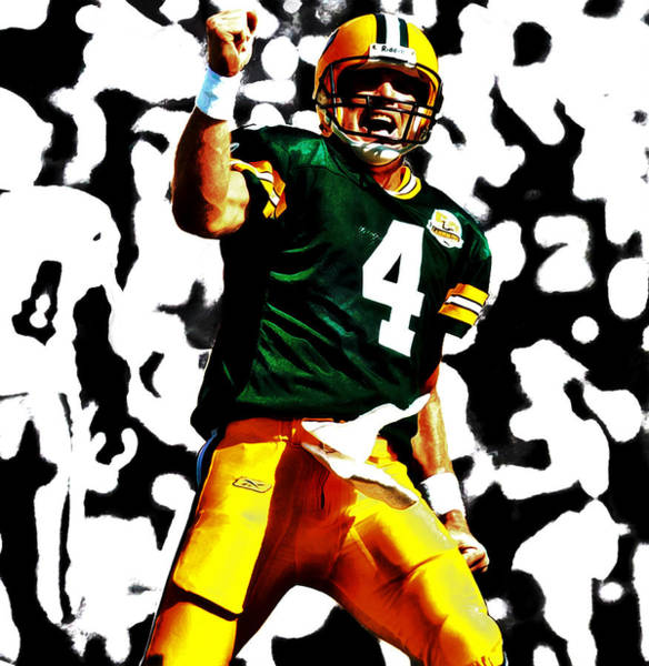Aaron Rodgers Mixed Media - Brent Farve On Fire by Brian Reaves