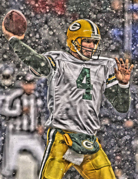Wall Art - Painting - Brett Favre Green Bay Packers 2 by Joe Hamilton