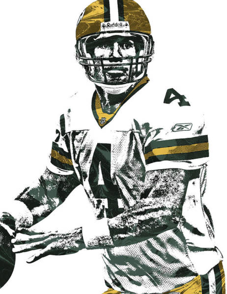 Wall Art - Mixed Media - Brett Favre Green Bay Packers Pixel Art 4 by Joe Hamilton