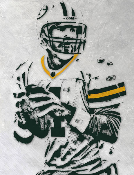 Green Bay Packers Wall Art - Mixed Media - Brett Favre Green Bay Packers Pixel Art by Joe Hamilton