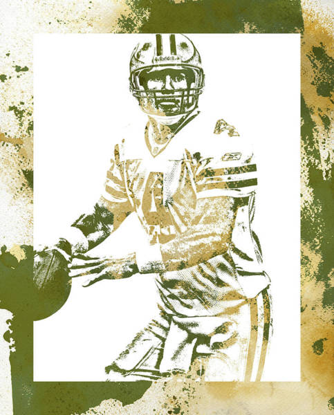 Wall Art - Mixed Media - Brett Favre Green Bay Packers Water Color Art 1 by Joe Hamilton