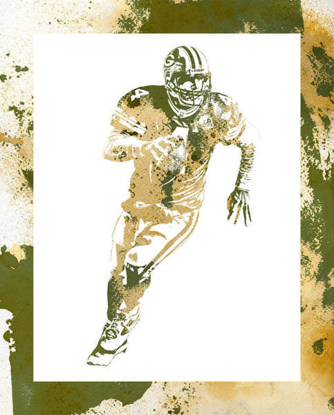 Wall Art - Mixed Media - Brett Favre Green Bay Packers Water Color Art 2 by Joe Hamilton