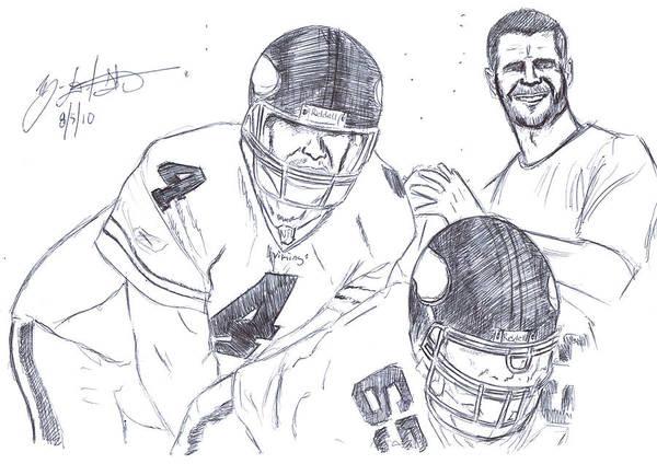 Super Bowl Drawing - Brett Favre by HPrince De Artist