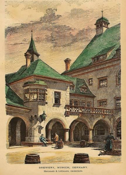 Munich Painting - Brewery Munich Germany 1890 by Heilmann and Littmann