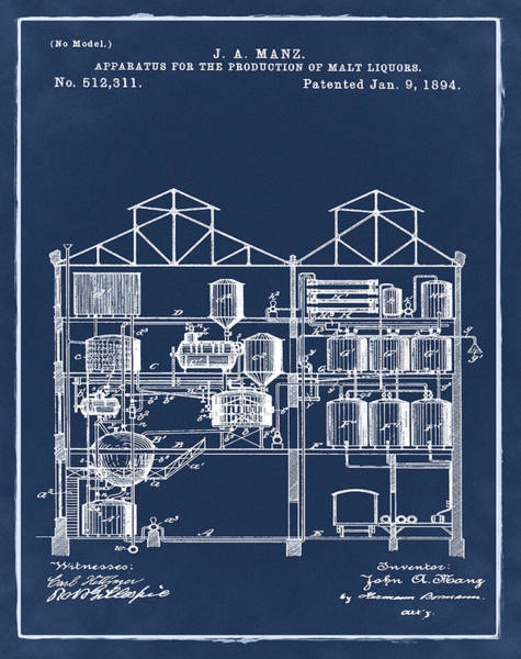 Photograph - Brewing Malt Liquors Patent 1894 In Blue by Bill Cannon