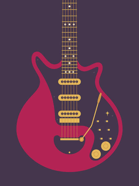 Glam Rock Digital Art - Red Special Guitar - Black by Ivan Krpan