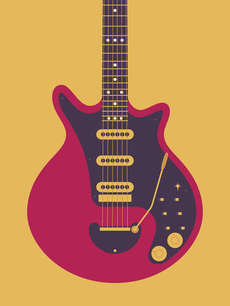 Glam Rock Digital Art - Red Special Guitar - Gold by Ivan Krpan