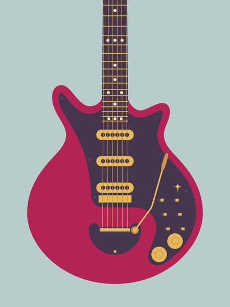 Glam Rock Digital Art - Red Special Guitar - Grey by Ivan Krpan