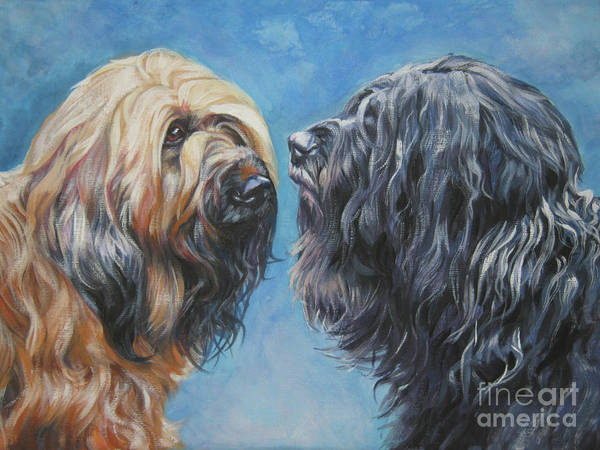 Pairs Painting - Briard  Pair by Lee Ann Shepard