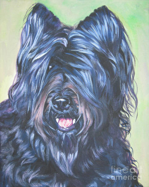 Ears Painting - Briard With Cropped Ears by Lee Ann Shepard
