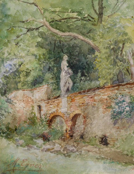Marie Painting - Brick Bridge With A Stone Figure by Marie Egner