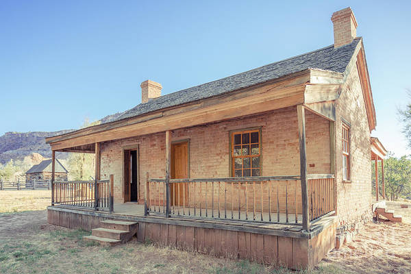 Wall Art - Photograph - Brick Frontier Home At The Grafton Ghost Town by Edward Fielding
