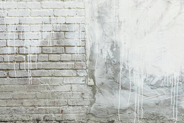 Photograph - Brick Texture White Paint Dripping Grunge Background by James BO Insogna
