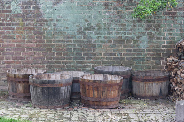 Wall Art - Photograph - Brick Wall And Barrels by Teresa Mucha