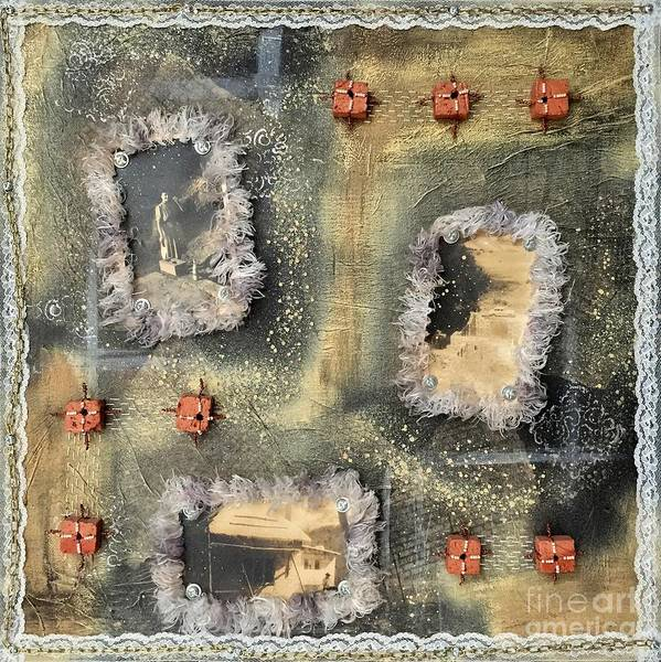 Brick House Mixed Media - Bricks And Pearls Triptych Part 1 by Lene Pieters