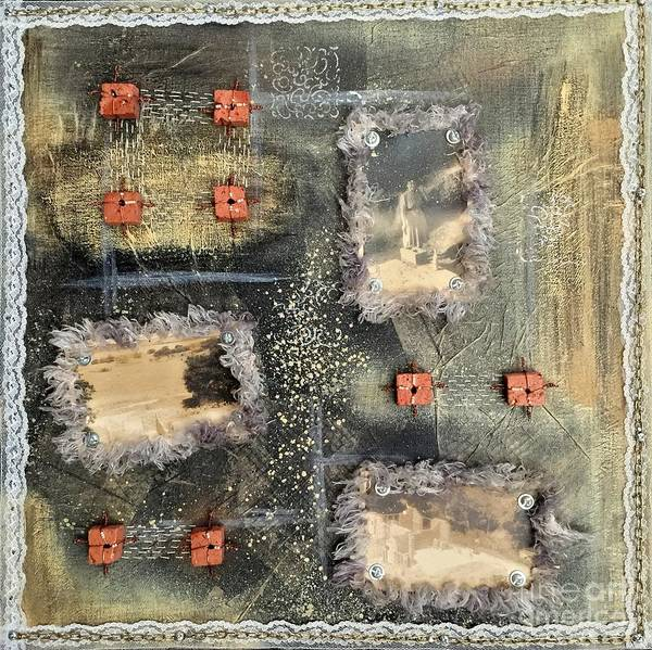Brick House Mixed Media - Bricks And Pearls Triptych Part 3 by Lene Pieters