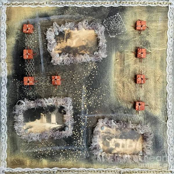 Brick House Mixed Media - Bricks And Pearls Triptych Part 2 by Lene Pieters