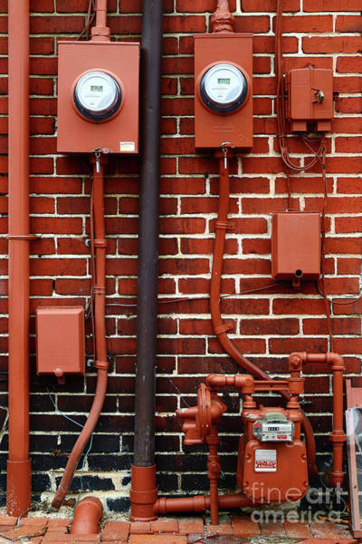 fuse box wall art - photograph - bricks meters and pipes by james brunker
