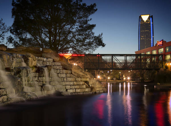 Shopping Photograph - Bricktown Waterfall by Ricky Barnard