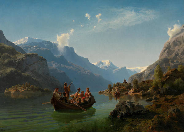 Norwegian Painting - Bridal Procession On The Hardangerfjord by Adolph Tidemand
