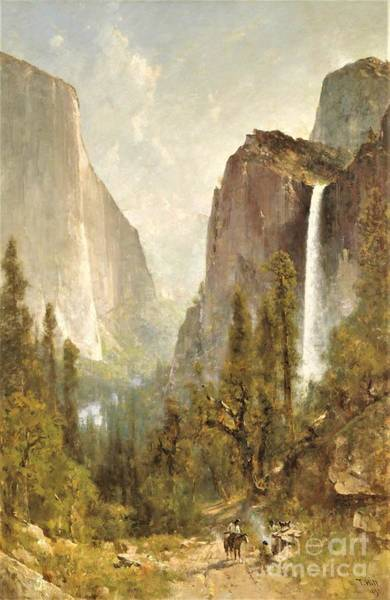 Wall Art - Painting - Bridal Veil Falls Yosemite by Pg Reproductions