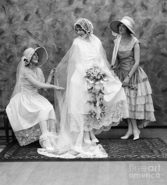 Wedding Bouquet Photograph - Bride And Bridesmaids, C.1900-10s by ClassicStock