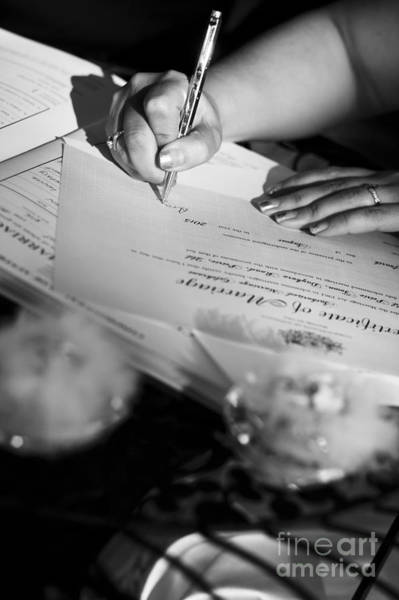 Wedding Invitation Wall Art - Photograph - Bride Signing Name On Marriage Register Contract by Jorgo Photography - Wall Art Gallery