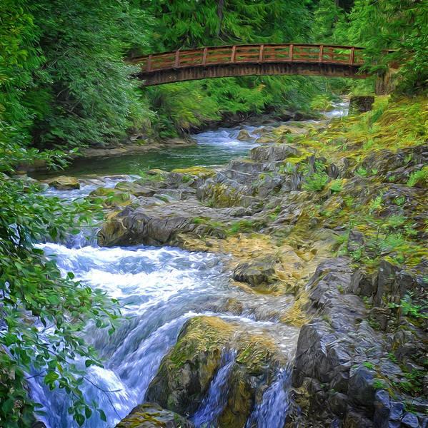 Digital Art - Bridge Across The Stream by Richard Farrington