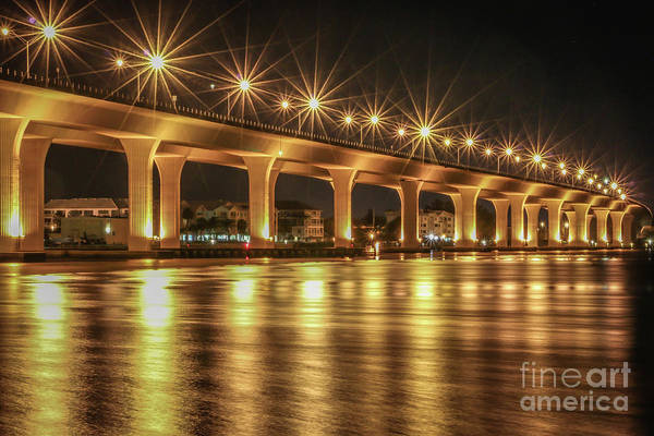 Art Print featuring the photograph Bridge And Golden Water by Tom Claud