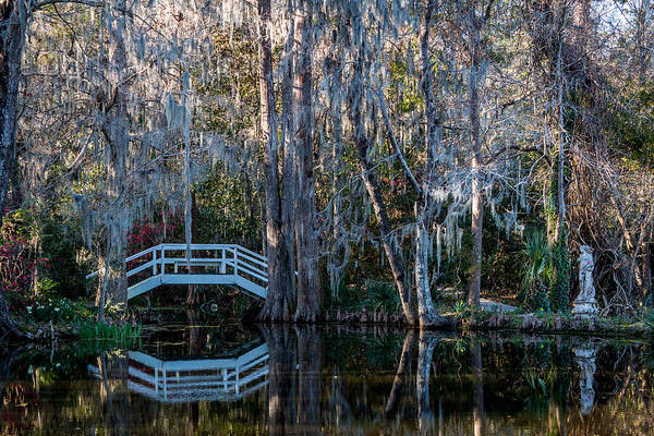 Photograph - Bridge And Statue At Magnolia Plantation Gardens by Susie Weaver