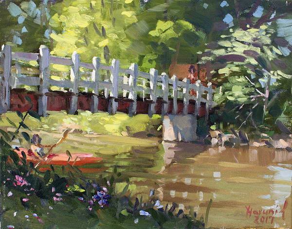 Wall Art - Painting - Bridge At Ellicott Creek Park by Ylli Haruni