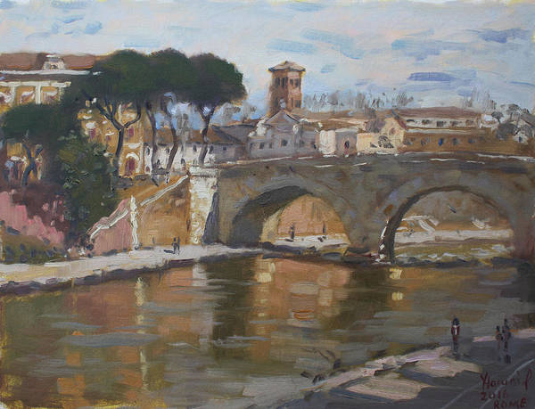 Wall Art - Painting - Bridge At Isola Tiberina Rome by Ylli Haruni