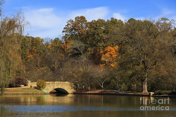 Photograph - Bridge At Lake In The Fall by Jill Lang