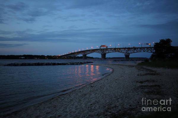 Sandy Point State Park Photograph - Bridge At Night by Rachel Morrison