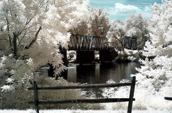 Between The Trees Photograph - Bridge Between The Trees Infrared by John Rizzuto