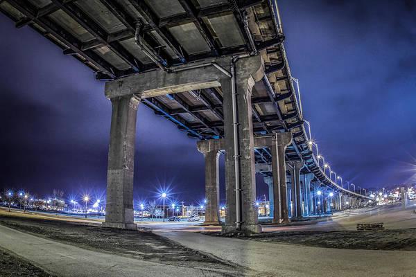 Centennial Bridge Photograph - Bridge In The Night by Ray Congrove