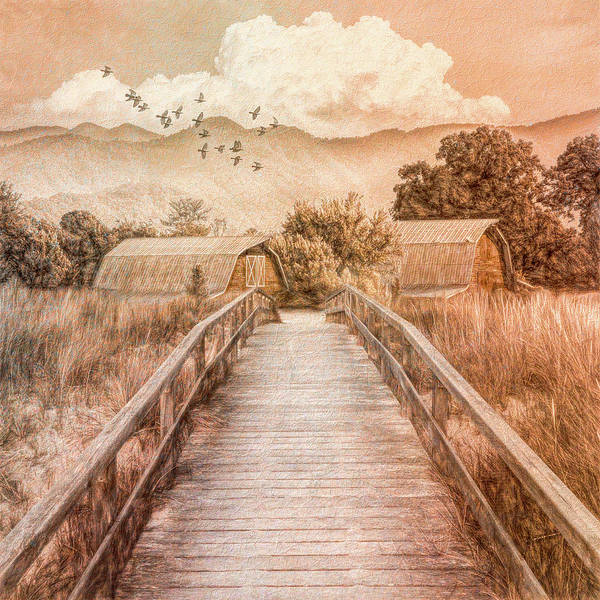 Wall Art - Photograph - Bridge Into The Country In Vintage Tones by Debra and Dave Vanderlaan