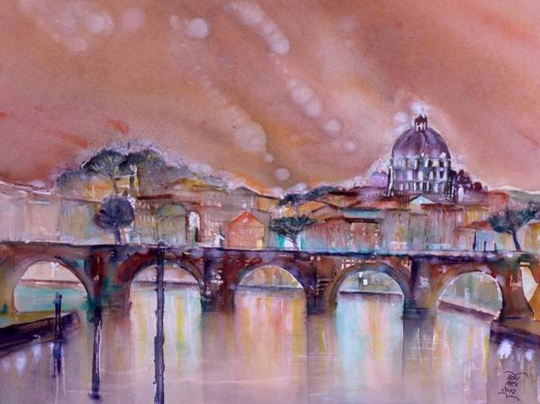 Wall Art - Painting - Bridge Of Angels - Rome - Italy by Sabina Von Arx