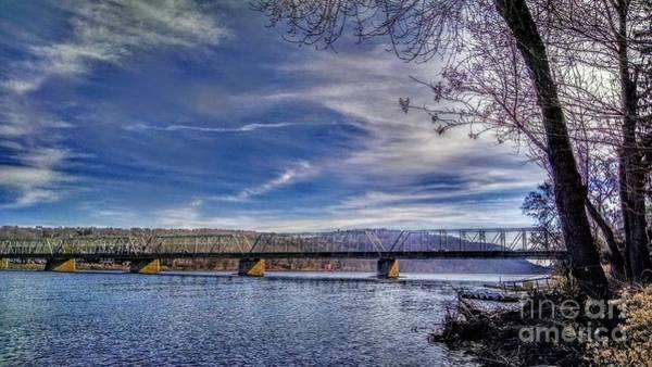 Bridge Over The Delaware River In Winter Art Print