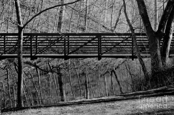 Photograph - Bridge Reflections Black And White by Karen Adams