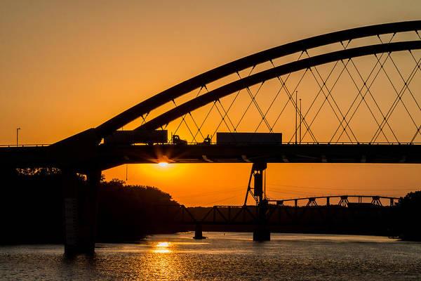 Otr Wall Art - Photograph - Bridge Sunrise And Two Trucks by Patti Deters