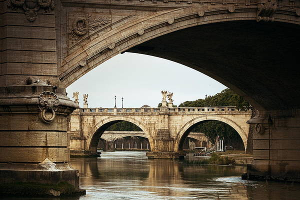 Photograph - Bridges Over River Tiber In Rome by Songquan Deng