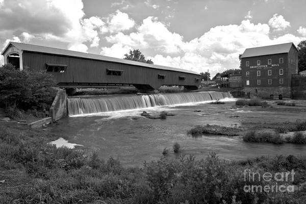 Photograph - Bridgeton Covered Bridge And Grist Mill Black And White by Adam Jewell