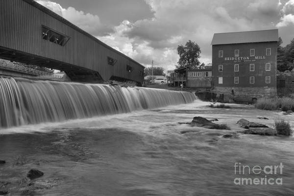 Photograph - Bridgeton Mill Spillway Black And White by Adam Jewell