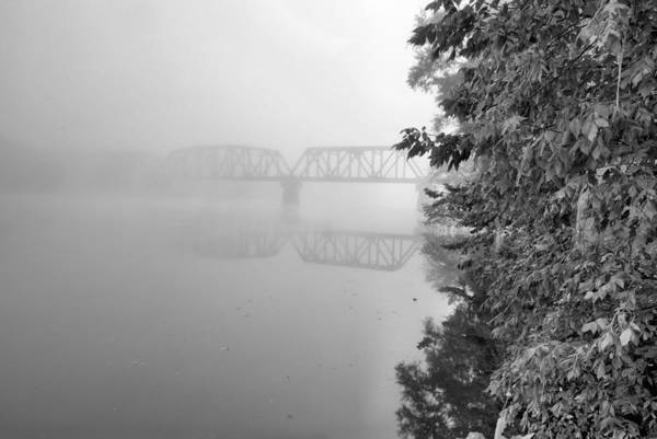 Coosa River Photograph - Bridging The Coosa Black And White by JC Findley