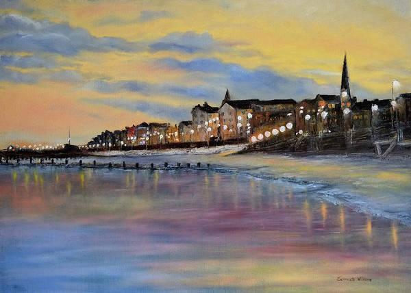 Bridlington Painting - Bridlington Seaside Dusk by Sarmite Alksne