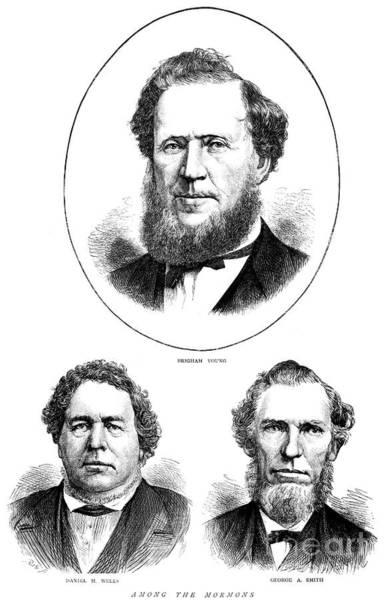 Pioneer School Wall Art - Drawing - Brigham Young, Daniel H Wells, George A Smith by American School