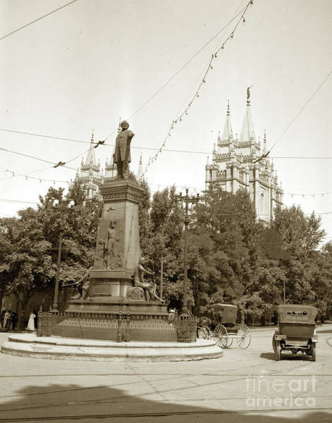 Photograph - Brigham Young Monument  Salt Lake City, Utah Circa 1919 by California Views Archives Mr Pat Hathaway Archives