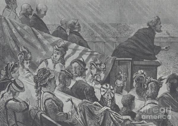 Pioneer School Wall Art - Drawing - Brigham Young Preaching At The Great Mormon Tabernacle, Utah, 1874 by American School